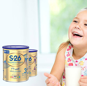 Little Girl Drinking Milk - S-26 Progress Gold Milk Can