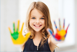 Little Girl With Paint On Her Hands